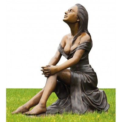 Metal sculpture life size bronze girl statue for sale
