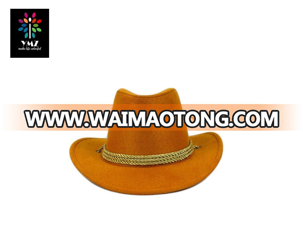 Wool Felt Blaze Orange Cowboy Hat with Elastic Band Product ab9f7e5c027