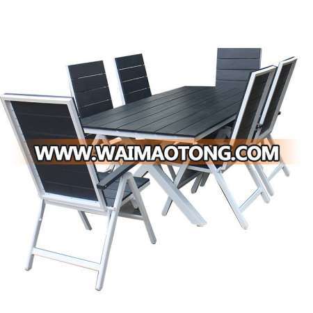 Outdoor garden aluminum an uv protection plastic wood furniture
