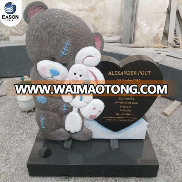Cartoon Baby Gray Teddy Bear Headstone