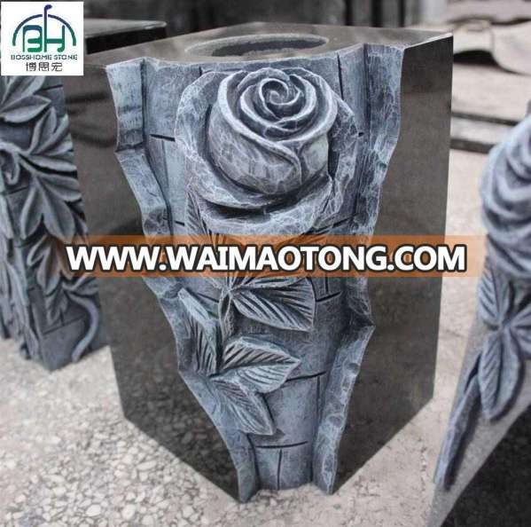 Exquisite design carved rose cemetery flower vase , cemetery pot with carving roses