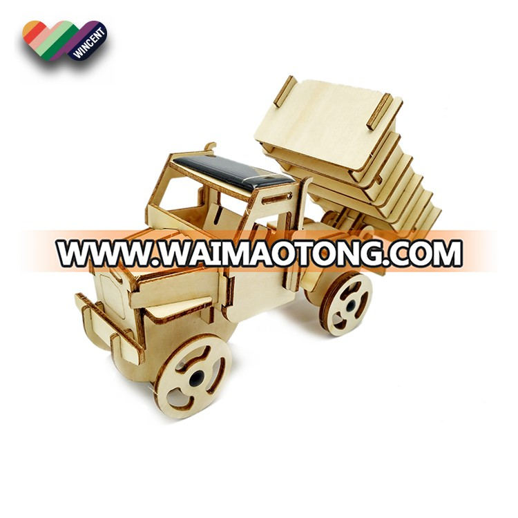 3D Wooden Running Truck Puzzle Solar Car Toy