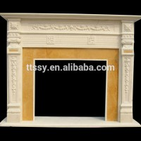 Hand carved beige marble fireplace mantel