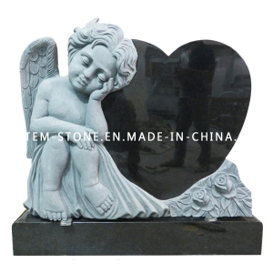 Black Granite Headstone, Hand Carved Angel Monuments with Heart Tombstones
