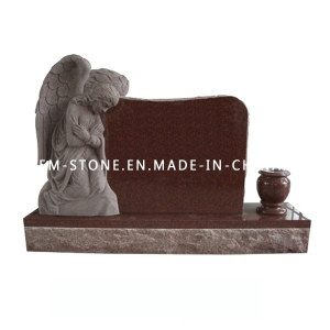 Wholesale Natural Stone Imperial Red Granite Carving Angel Tombstone Monument